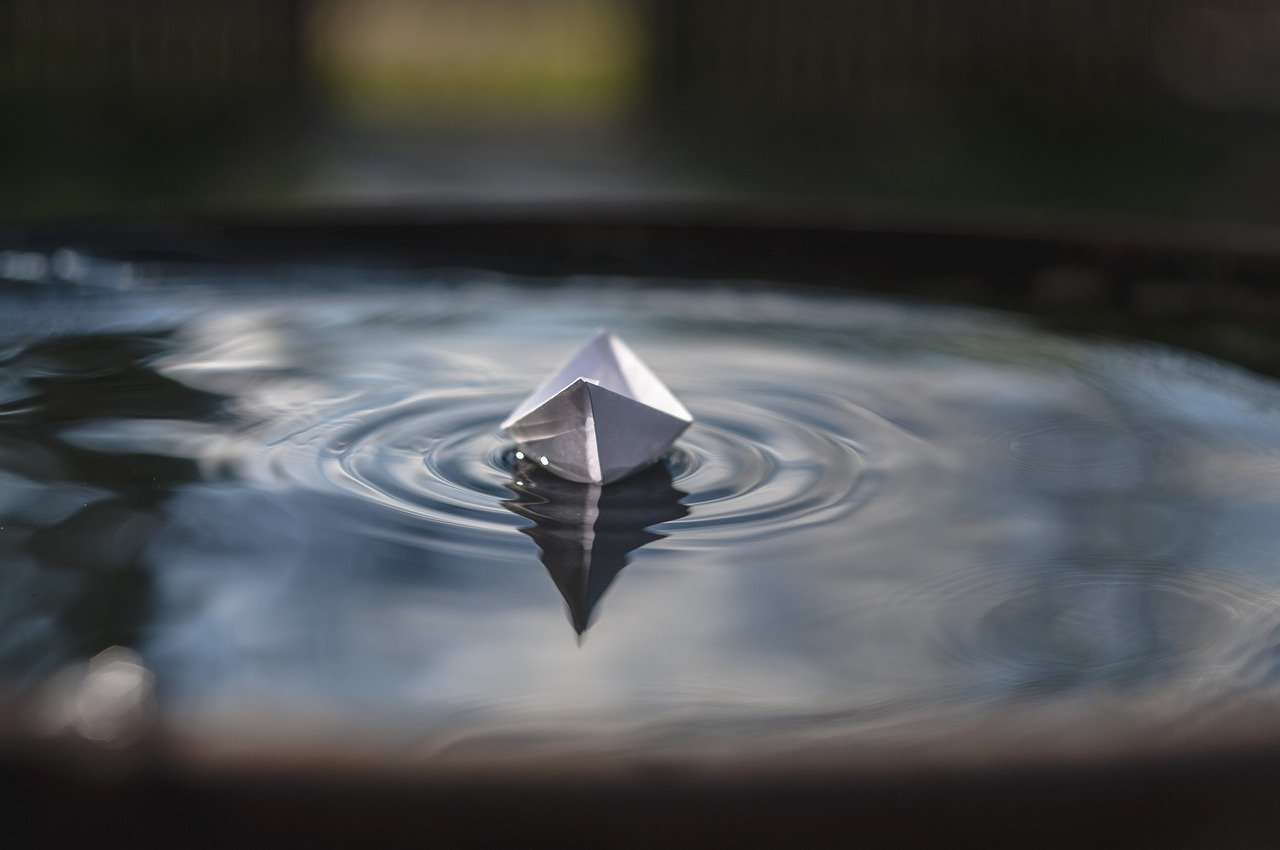 paper boat, water, floats