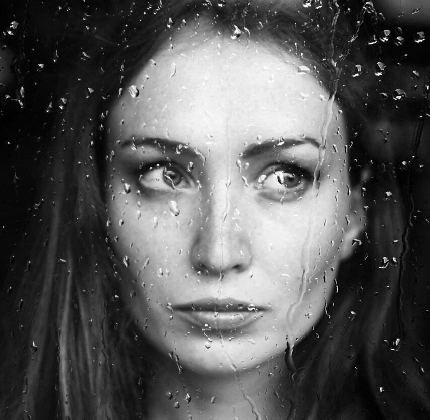 woman, rain, window